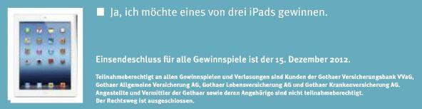 Screenshot Gewinnspiel aus dem Gothaer Magazin 11/2012